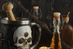 Magic potions in bottles, coffer and Magic wand on wooden background
