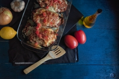 Stuffed Eggplant over blue dark background